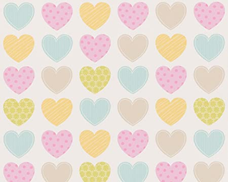 Wallpaper Bedroom Pink Colorful Heart Print Yellow Green On White Background Striped Embossed Shabby Chic Modern
