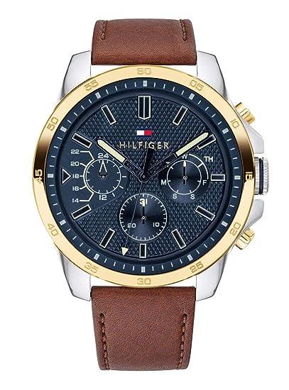 Tommy Hilfiger Reloj Multiesfera para Hombre de Cuarzo con Correa en Cuero  1791561  Amazon.es  Relojes 8de75e1ca91a