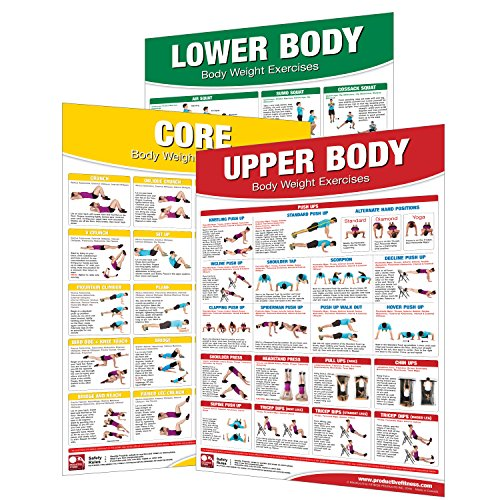 Laminated Bodyweight Workout Set of Posters/Charts - Bodyweight Training - Created by University Accredited Fitness Experts - Bodyweight Exercises - ... Chest Workout - Bodyweight Leg Work - Cardio Exercise Chart