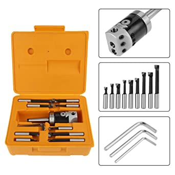 9 x Boring Carbide Tips with 12mm Shank 1 x F1-12 50mm Boring Head with 12mm Hole Accept Boring Tool Set for The Milling Machine