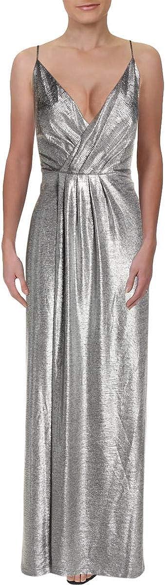 Laundry by Shelli Segal Womens Metallic Surplice Evening Dress