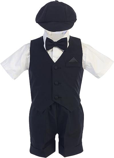 Infant Toddler /& Boy Black Vest Wedding Formal Suit Set size S M L XL 2T 3T 4T