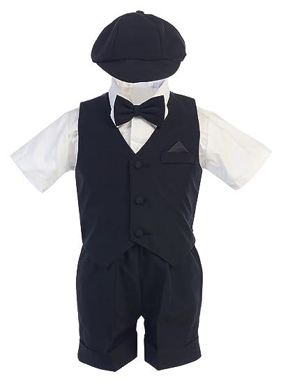 571c68cbc Amazon.com  Boy Eton Suit BLACK S-4T 5pc Formal Short Sleeve Set ...