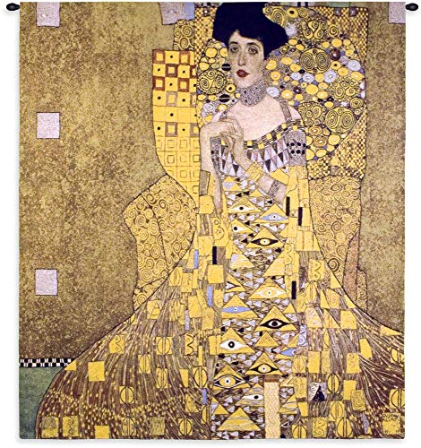 Adele Bloch-Bauer by Gustav Klimt | Woven Tapestry Wall Art Hanging | Woman in Gold Austrian | 100% Cotton USA Size 58x52 ()