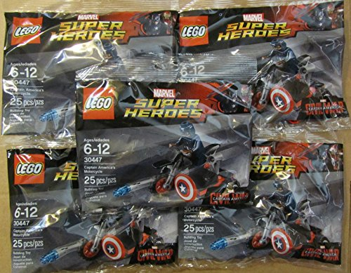 5 X LEGO Marvel Captain America Civil War Captain Americas Motorcycle Mini Set #30447 [Bagged]