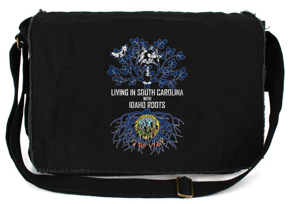 Tenacitee Living In South Carolina with Idaho Roots Grey Brushed Canvas Messenger Bag