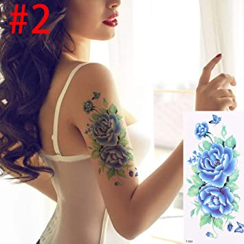 10c5e68cb Amazon.com : 1Pc 3D Lifelike Rose Flower Sex Waterproof Temporary Tattoos  Women Flash Tattoo Arm Shoulder Big Flowers Stickers 02 : Beauty