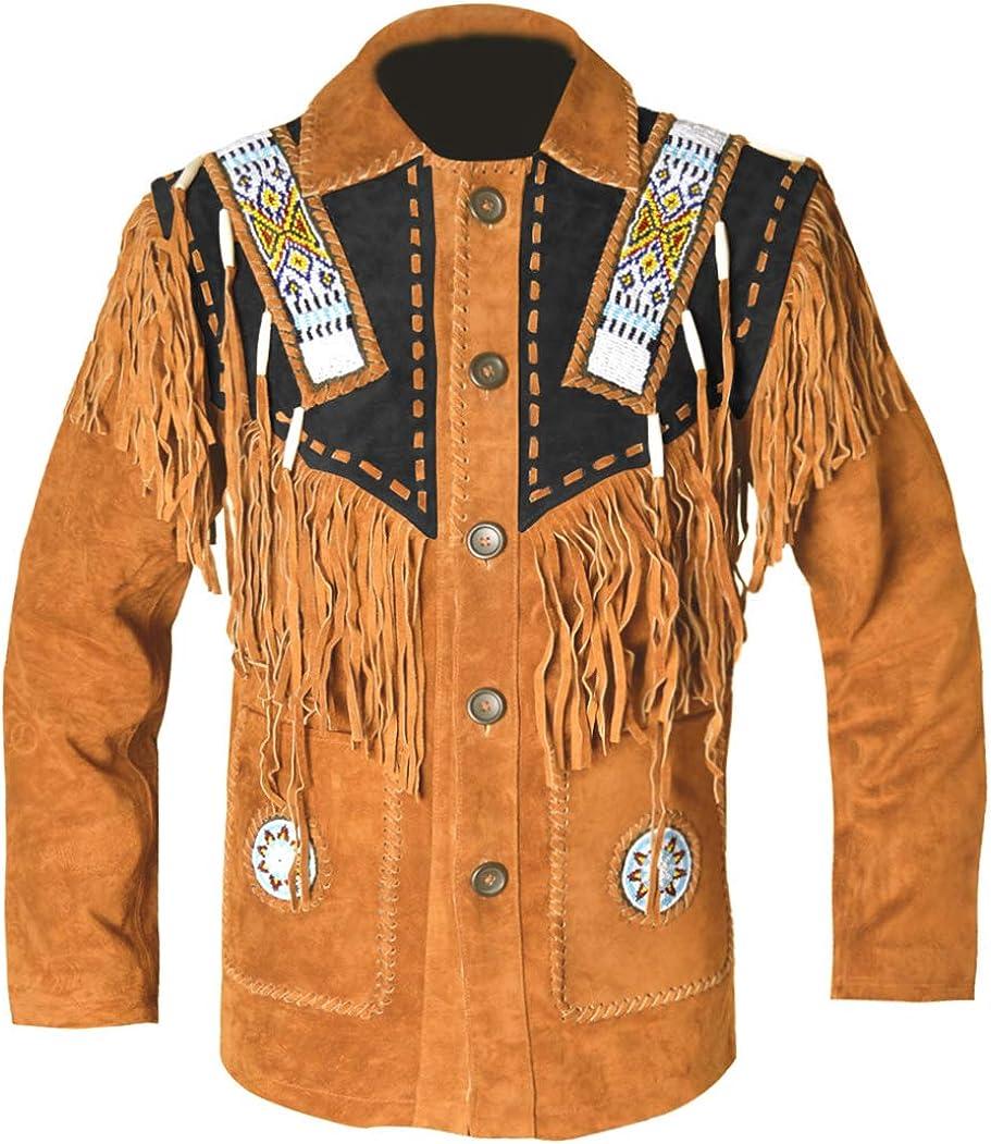 MSHC Western Cowboy Mens Fringed Suede Leather Jacket D9 XXS-5XL Brown RED Blue Black