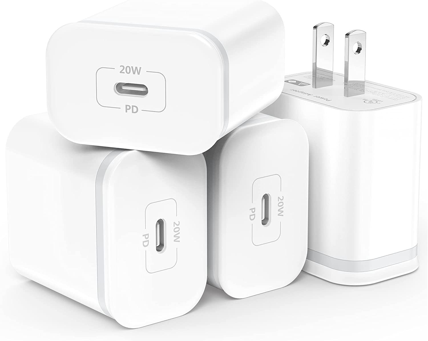 LUOATIP 4-Pack 20W USB C Fast Charger for iPhone 12/12 Mini/12 Pro/12 Pro Max, PD 3.0 Wall Plug Charging Cube Block Adapter USBC Box Brick for Phone 11 Pro Max SE 2020, iPad Pro, AirPods Pro