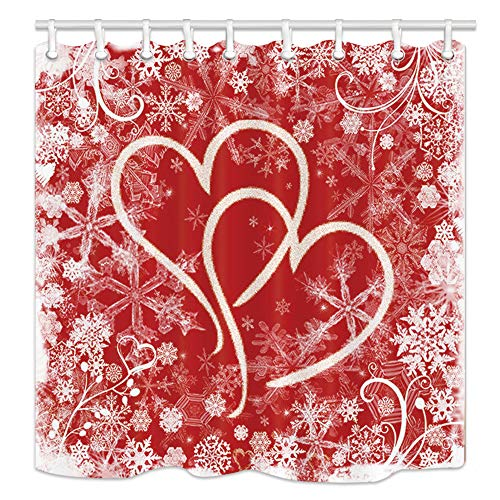 NYMB Valentine's Day Wallpaper Shower Curtains, Hearts with Snowflakes for Lover Bath Curtain,Fabric Shower Curtain, Bathroom Accessory Sets, Hooks Included, 70X70in