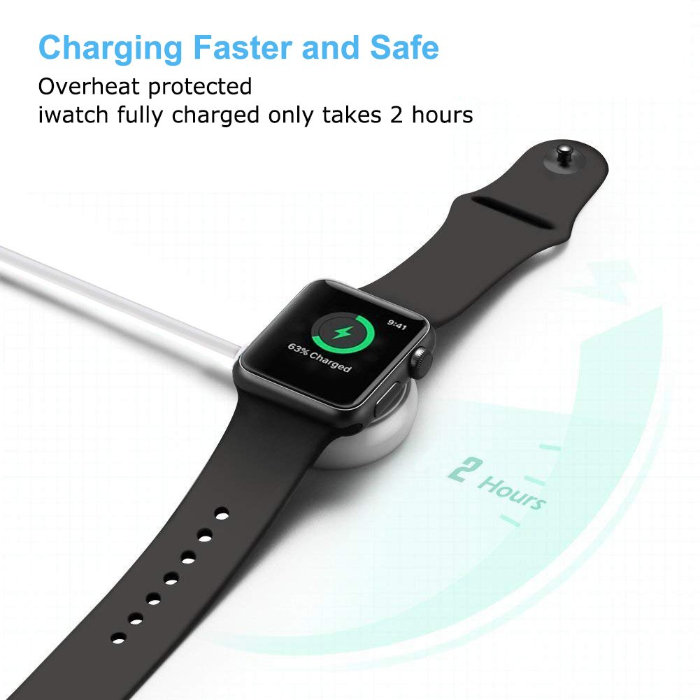 CulaLuva Magnetic Wireless Charger Cable Pad Stand Compatible with Apple Watch Series 3 2 1 All 38mm 42mm by CulaLuva (Image #3)
