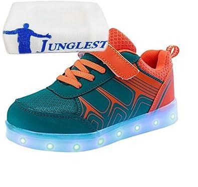 [Present:kleines Handtuch]Grau EU 35, Schuhe Athletische Sneakers mit Jungen Kinder LED JUNGLEST® weise Bunte Leuchtet mit