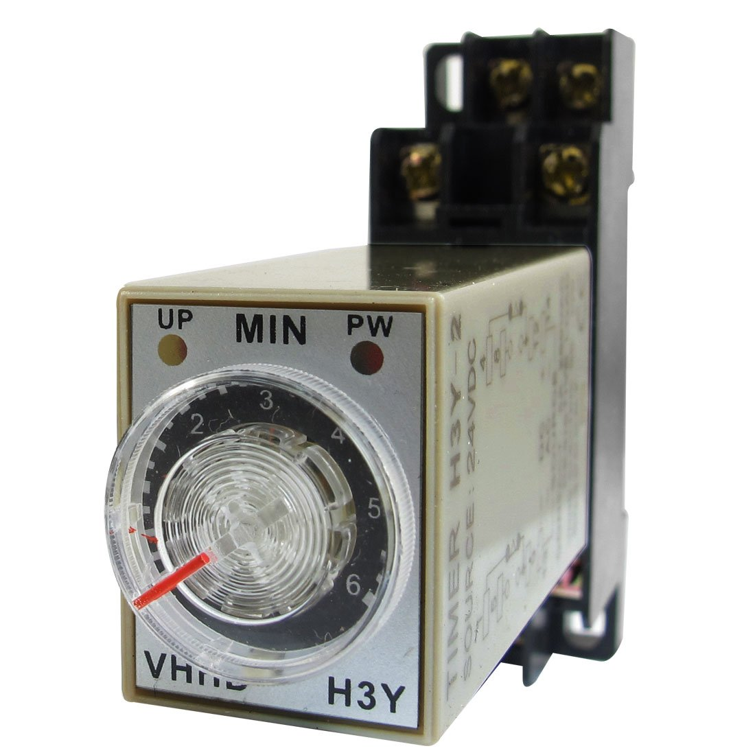 uxcell H3Y-2 On/Up LED Indicator Power Timing Relay 8 Pin 0-6m 6 Min 24V DC + Base