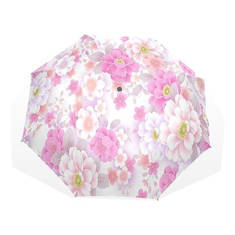 ad69f16e070c Amazon.com : HangWang Umbrella White Pink Cherry Blossom Travel Golf ...