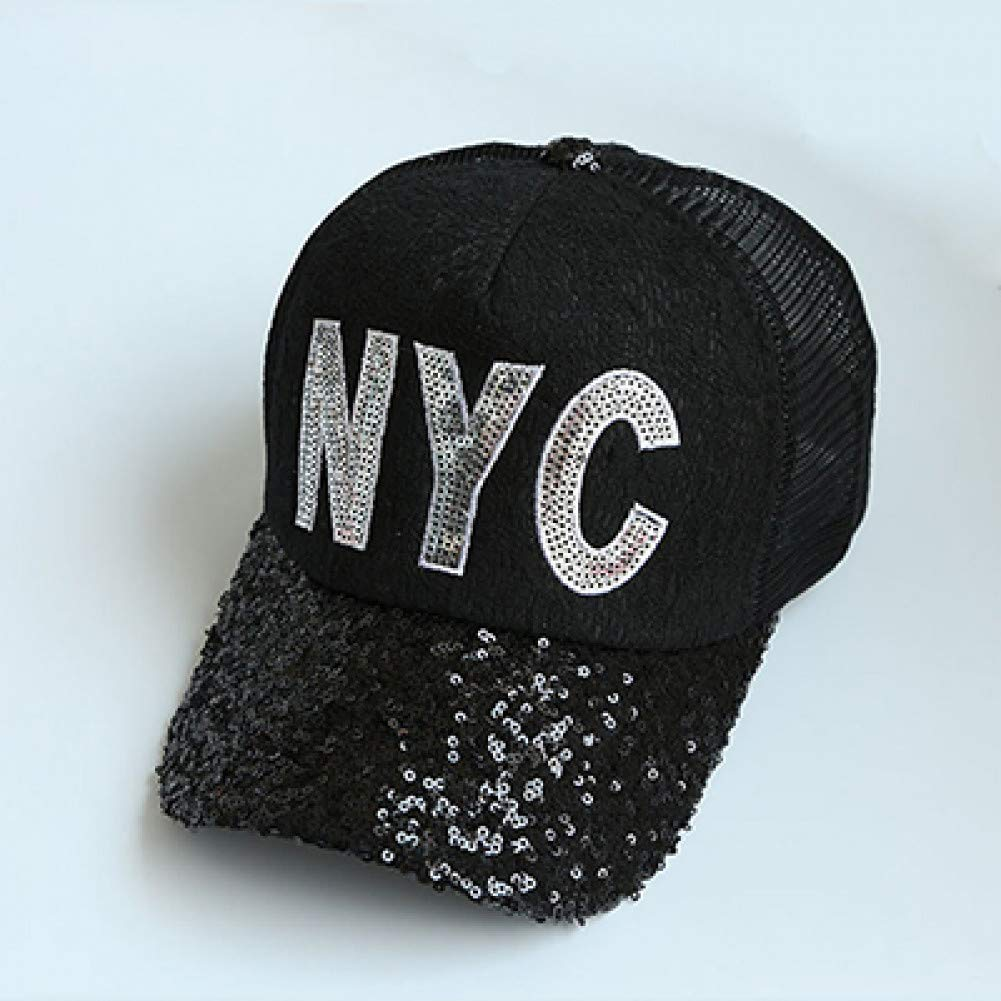 Black WYKDA Women's Lace Sequined Baseball Cap NYC Letter Casual Snapback Adjustable Fashion Girl's Hat