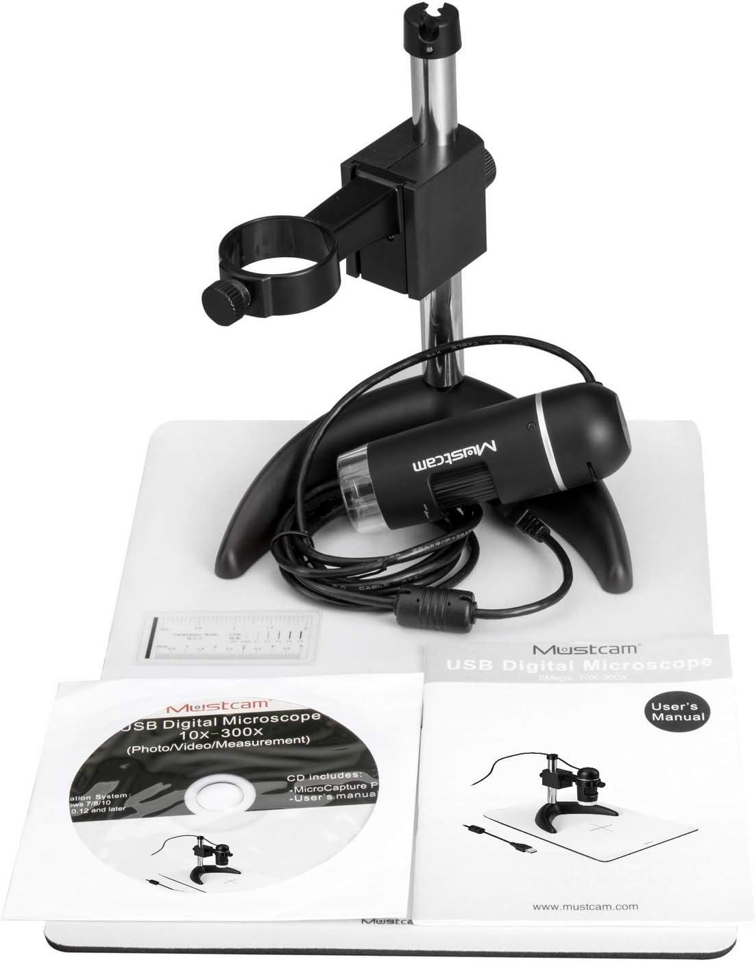 10/x palmare e osservazione stand Mustcam 5/Mega Pixel USB microscopio digitale con misurazione software per Windows//Mac//UVC 300/x di ingrandimento