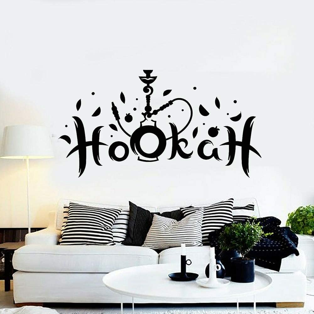 Etiqueta de la pared de fumar cachimba árabe salón decoración etiqueta de la pared vinilo hogar sala de estar decoración papel pintado