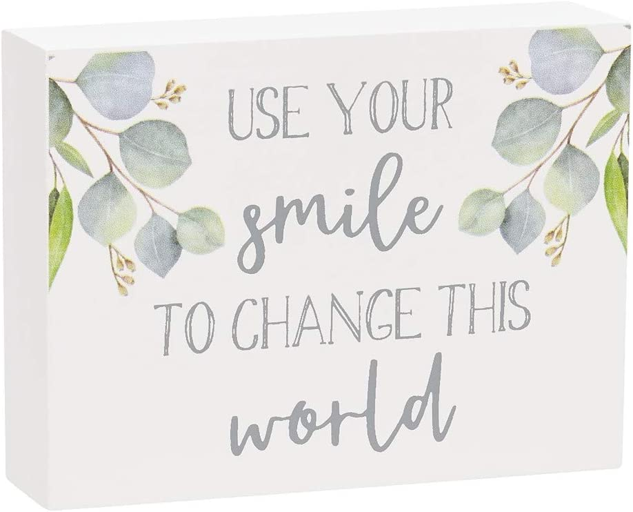 """Collins Painting Inspirational Mini Wood Block Sign, 4"""" (Use Your Smile to Change The World)"""