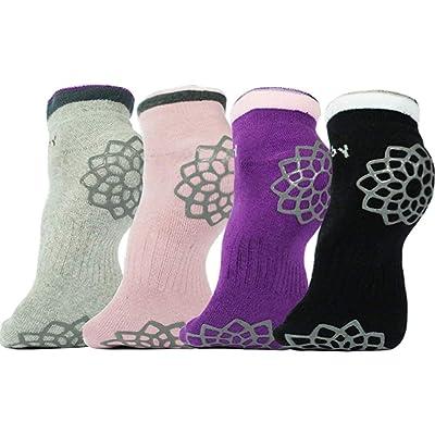 DubeeBaby Women's Yoga Socks Non Slip Socks Hospital Socks (Sahasrara Chakra×4 Pairs): Clothing