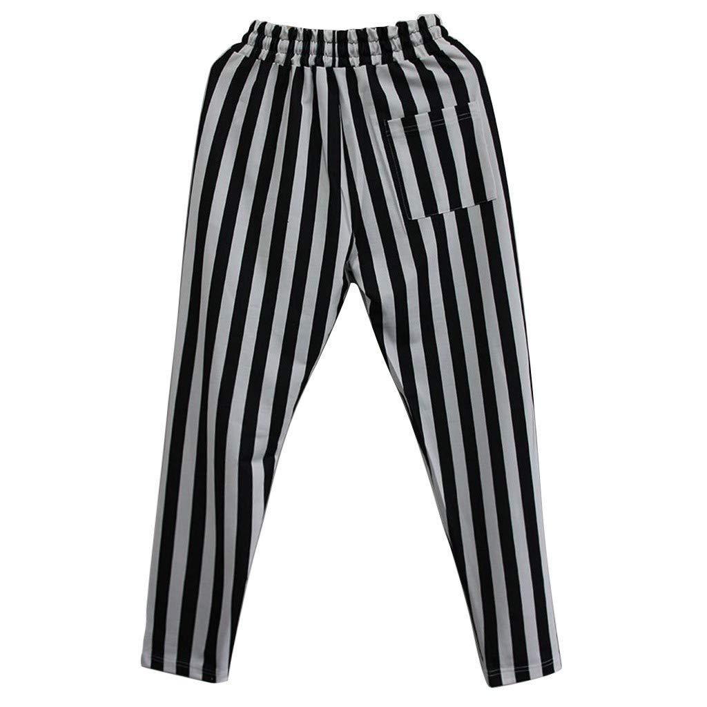 LEERYAAY Cargo/&Chinos Mens New Summer Stripe Sports Pants Fashion Stripe Fitness Sports Running Pants
