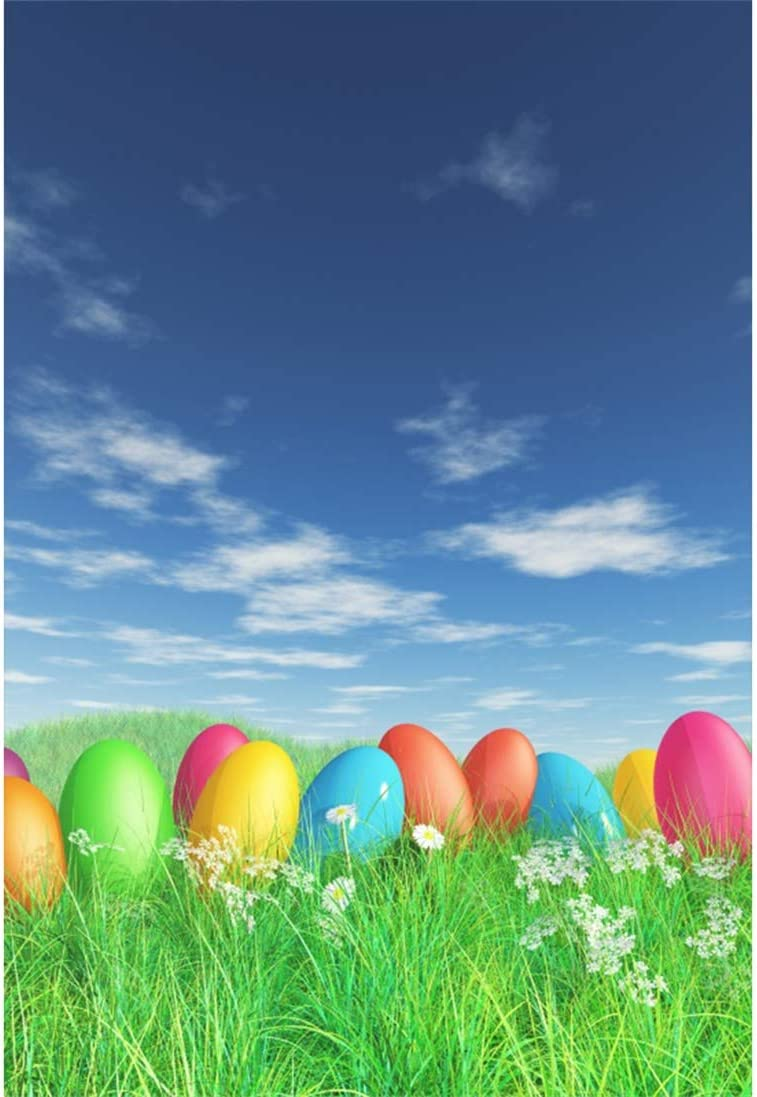 Yeele-Easter-Backdrop 8x10ft Easter Photography Background Eggs Nest Grassland Blue Sky White Cloud Photo Backdrops Pictures Studio Props Wallpaper