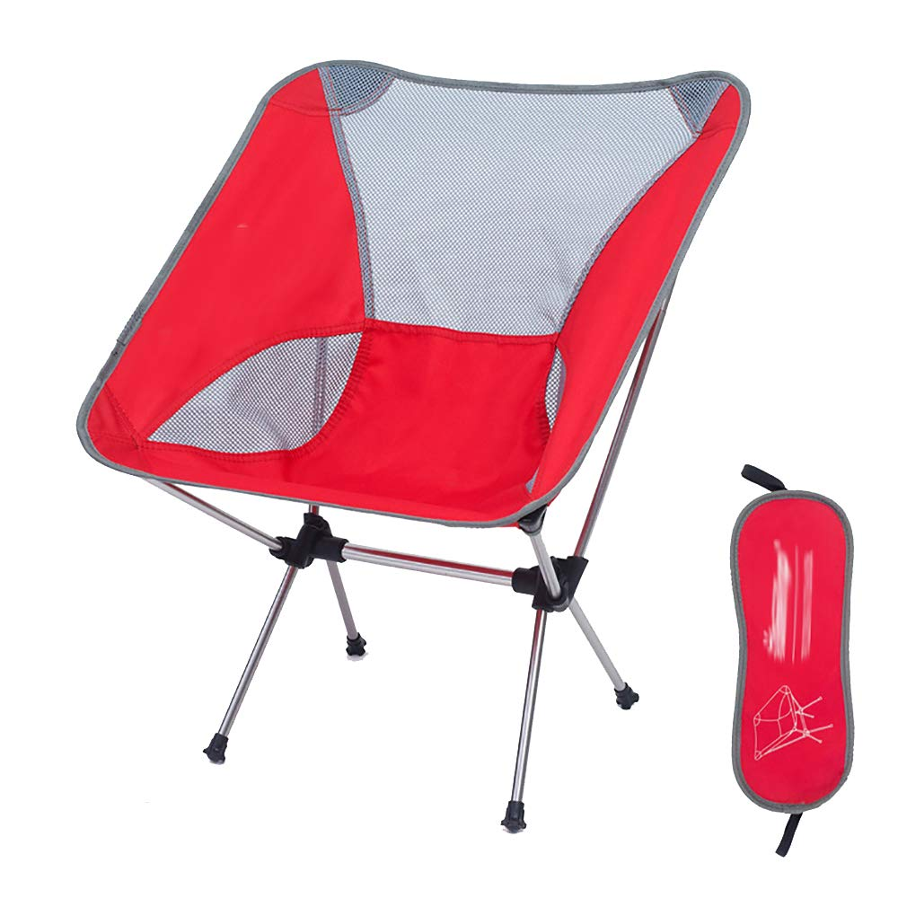 Folding Chair Outdoor Camping Folding Chair Moon Chair Fishing Chair Director Chair Aviation Aluminum Chair Ultra Light Portable Red 57  35  65cm
