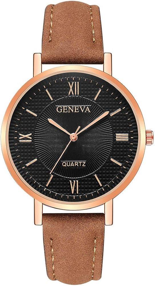 Darringls_Reloj Geneva,Relojes de Mujer Relojes Mujer Dorados Reloj de Cuarzo Faux cronógrafo Plateado con Cristales para Mujer Reloj clásico Redondo