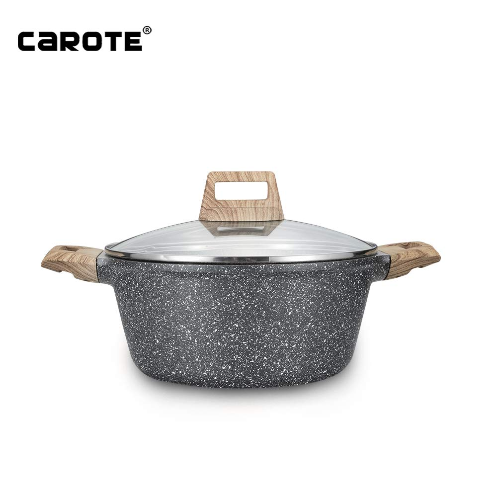 Carote 11 inch/6 Quart Stone-Derived Non-Stick Granite Coating Casserole Saucepot with lid by Carote