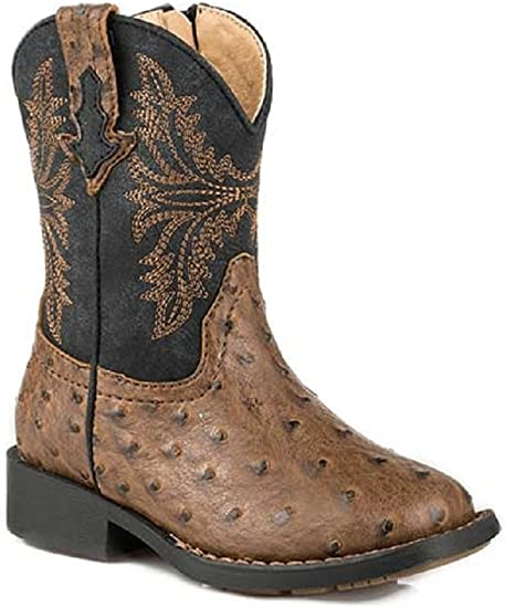 Kids Toddler Cowboy Boots Ostrich Quill Print Leather Square Toe Botas Vaquero