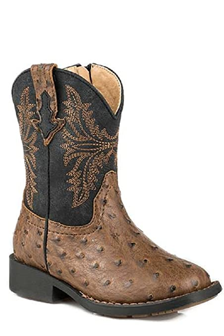 5056144d003 Amazon.com: Roper TODDLER Boys Size 5 JED Exotic Brown Ostrich Skin ...