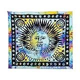 Jiayit Sun and Moon Star Print Tapestry Celestial Sun Hippy Tapestry Wall Hanging Throw Window Doorway Door Curtain (M)