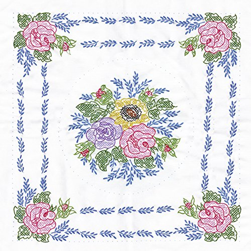 Tobin Stamped Quilt Blocks Cross Stitch Kit, 18 by 18-Inch, Floral Bouquet, White, 6 Per Package