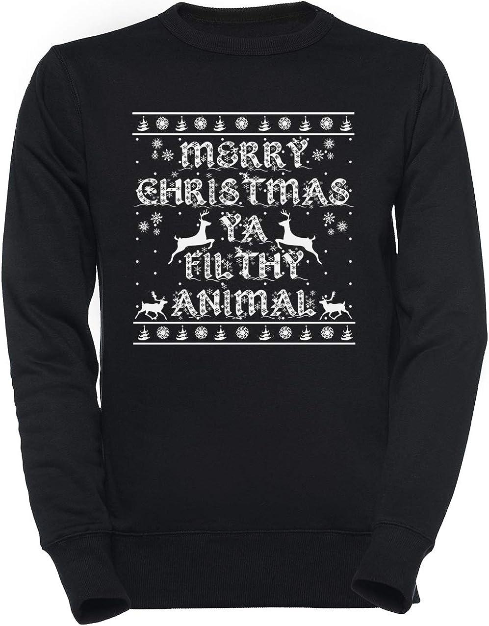 Merry Christmas Ya Filthy Animal Unisexo Negro Sudadera Hombre Mujer Unisex Black Jumper Men's Women's