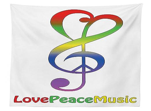 vipsung 1960s decoración Mantel Amor Paz y música de Clave ...