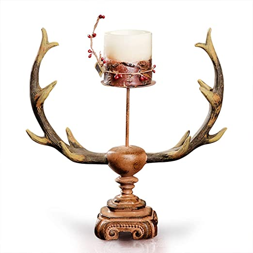 Amazon Com Oh Trendy Rustic Home Decor Deer Antler Candle Holder Centerpiece Single Home Kitchen