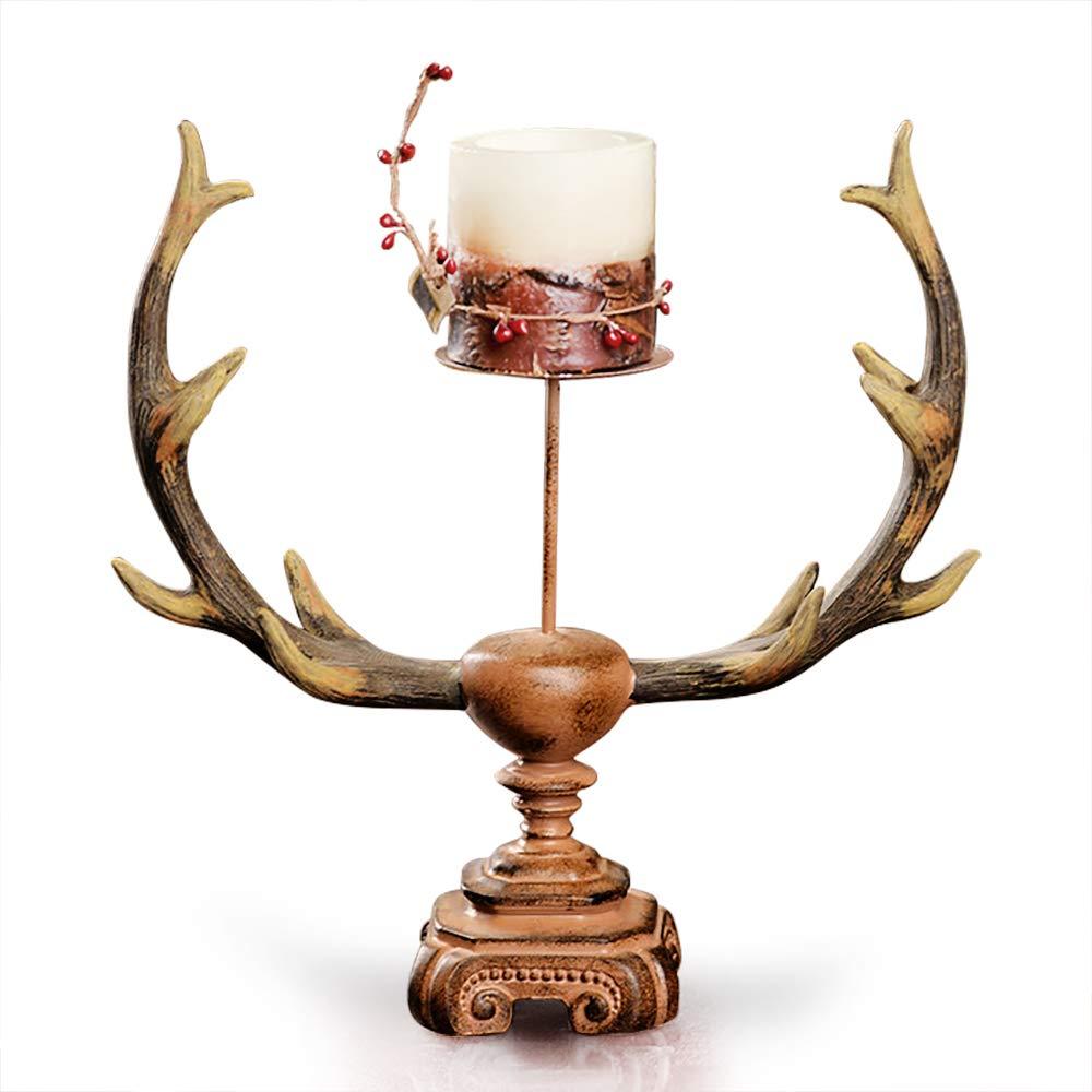Rustic Faux Deer Antler Tall Pillar Candle Holder - ChristmasTablescapeDecor.com