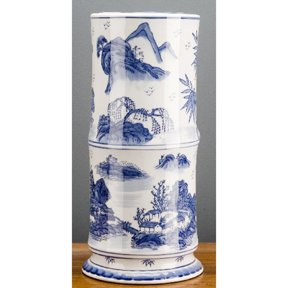 Home decor. Blue And White Porcelain Bamboo Shaped Vase. Dimension: 8 x 8 x 16. Pattern: Blue & White Classic.