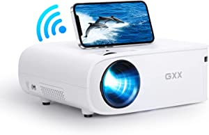 GXX G1 Projector for Outdoor Movies, 5G WiFi Projector FHD Native 1080P Support 4K 500 ANSI-lumens Home Theater Synchronize Smartphone Screens, Portable Projector Compatible with Phone HDMI TV Stick