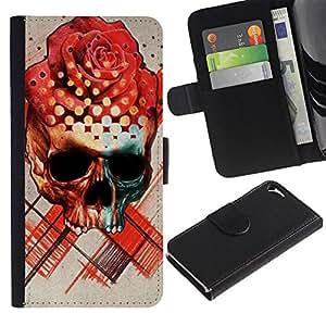 iKiki Tech / Cartera Funda Carcasa - Rose Skull Death Ink Tattoo Red Rose - Apple iPhone 5 / 5S