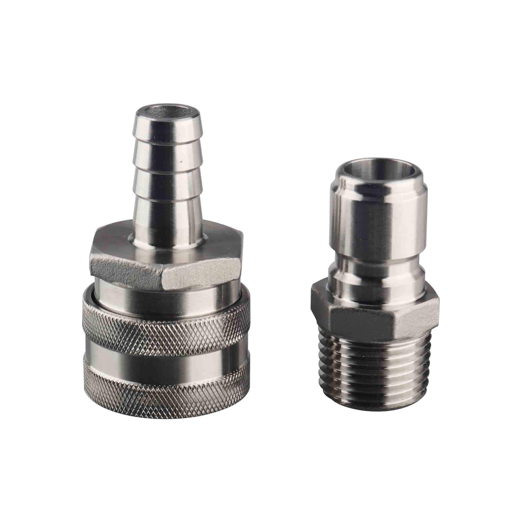 OneBom Quick Disconnect Set, Beer Brewing Connector Kit Stainless Steel, Easy Connect & Clean, No Leak for Ball Valve & Mash Tun (1/2'' MPT Male + Barb Female)