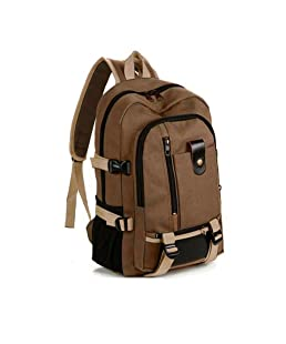 Keepfit Canvas Backpack, Fashion Simple Schoolbag Double-Shoulder Adjustable Schoolbag College School Bookbag for Women & Men (Brown, (17x11.4x5.9)/(43X29X15) cm)