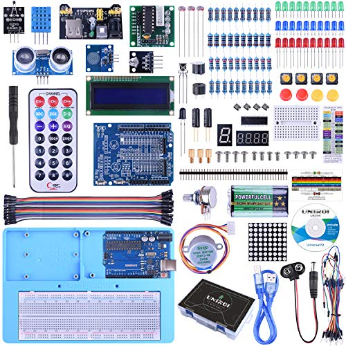 UNIROI Ultimate Starter Kit Compatible with Arduino IDE 328P Control Board, 260 Pages Detailed Tutorial, 217 Items, 51 Projects, Breadboard with Arduino IDE Starter Kit