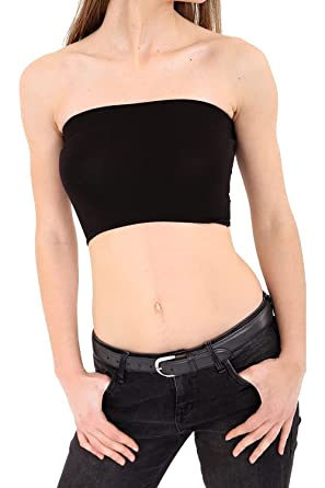 d6c17fe522 Vanilla Inc Ladies Boob Top Womens Plain Casual Stretch Crop Top Boobtube  Girls Bra Tube Tops  Amazon.co.uk  Clothing