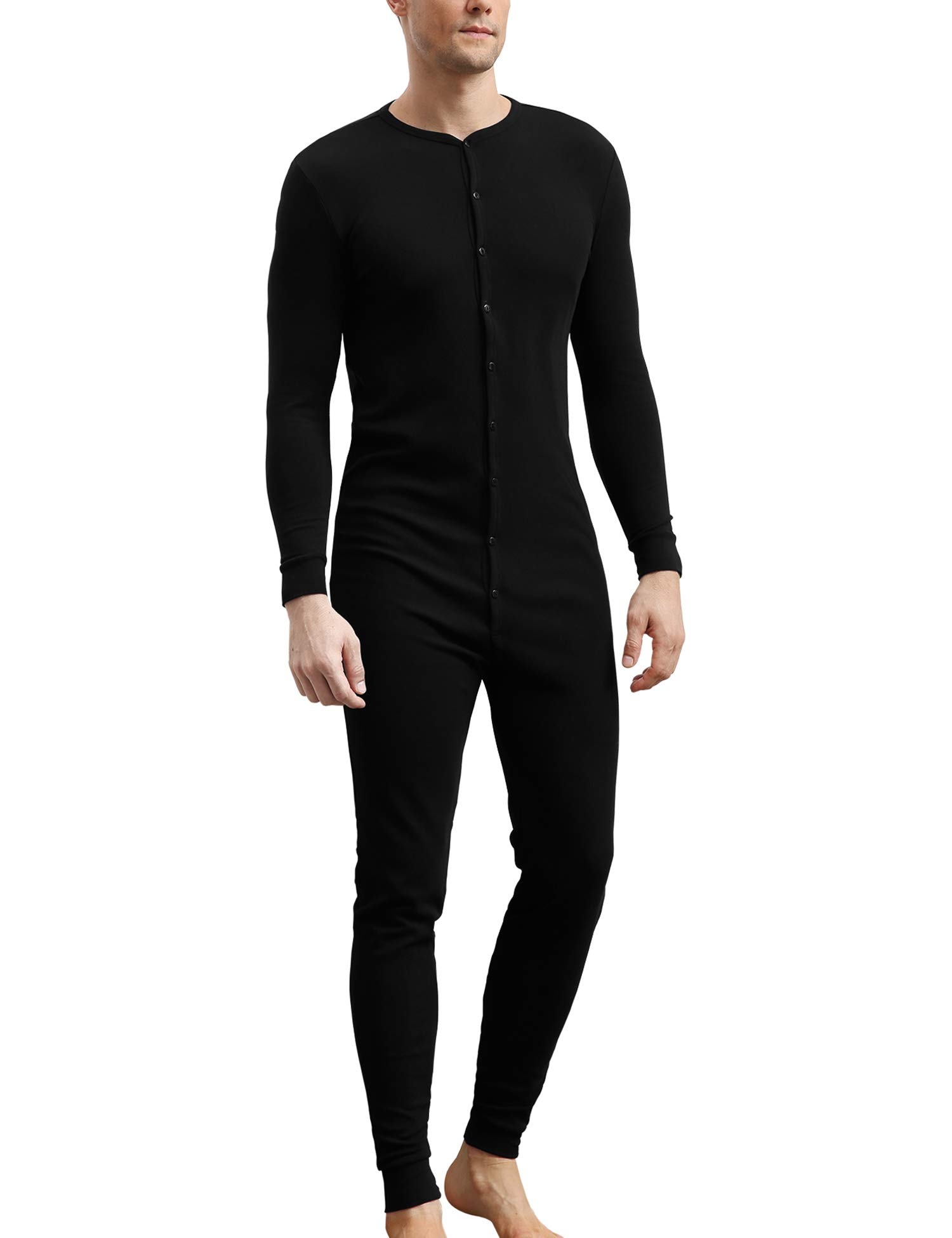 COLORFULLEAF Mens Cotton Thermal Underwear Union Suits Henley Onesies Base Layer (Black, L) by COLORFULLEAF