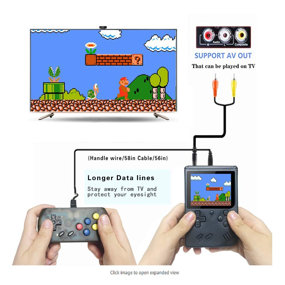 wanjiaxinhui Handheld Game Console, Retro FC Game Console, Portable Video Game Console for Connecting TV and Two Players with 3 Inch LCD Screen 168 Classic Games (Black) by wanjiaxinhui (Image #2)