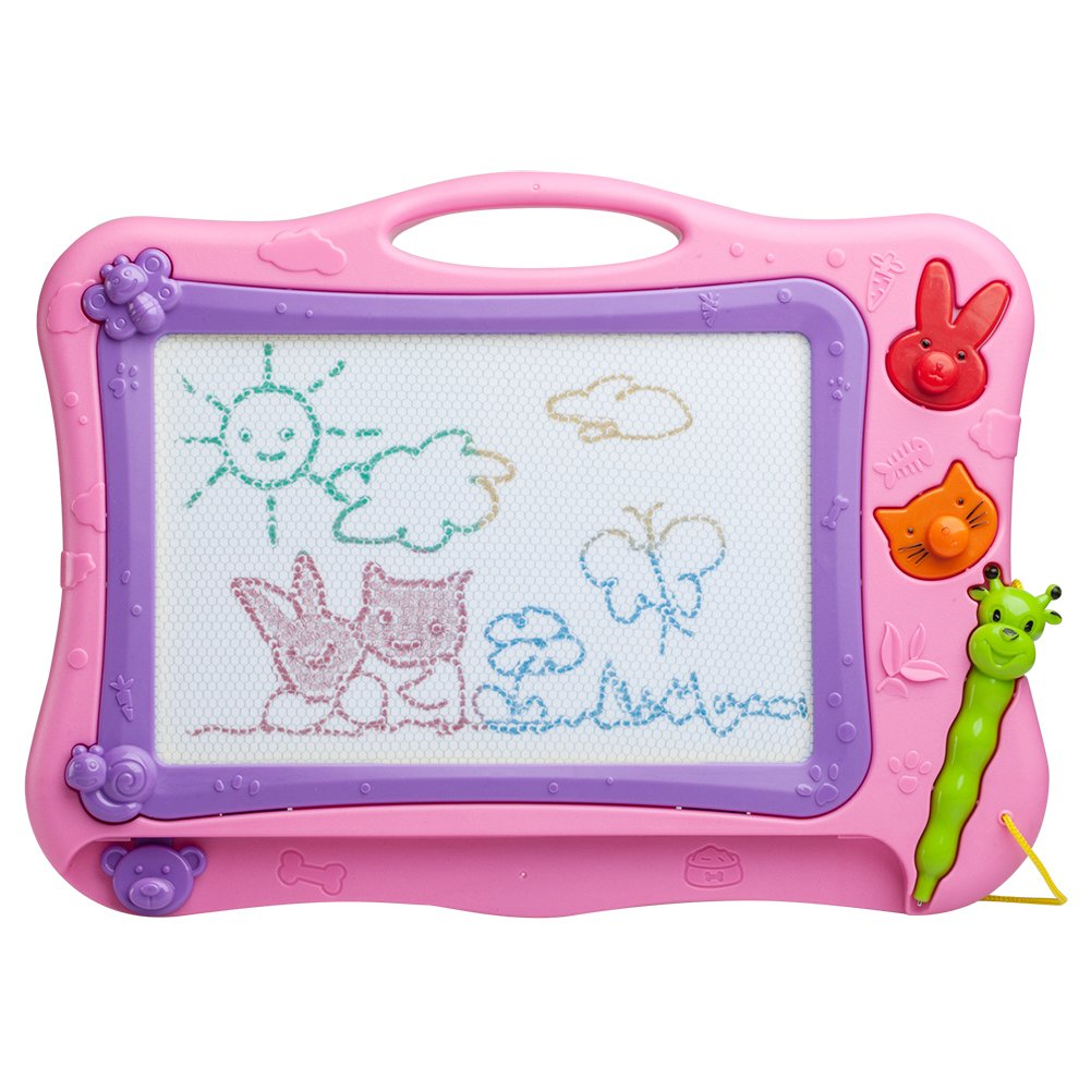 ikidsislands IKS77P [Travel Size] Color Magnetic Drawing Board Kids & Toddlers - Non Toxic Mini Magna Sketch Doodle Educational Toy Girls 1 Pen & 2 Stamps (Pink)