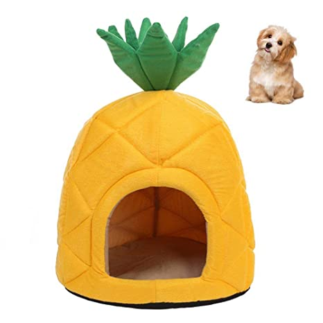 RFGTYBDD Pet Forma de piña Mascota Waterloo Cat Dog Pequeño Mini Suave Cómodo Plegable Four Seasons