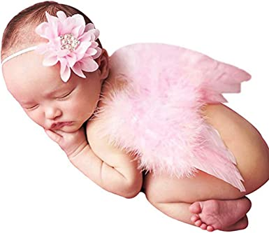 Hifot Newborn Baby Photography Prop Outfits Feather Angel Wings with Headband S