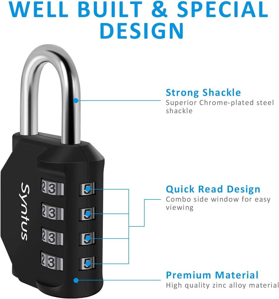 Black Sports Locker Toolbox Hasp Storage Case Syntus 2 Pack Combination Lock 4 Digit Padlock for School Gym Locker Fence