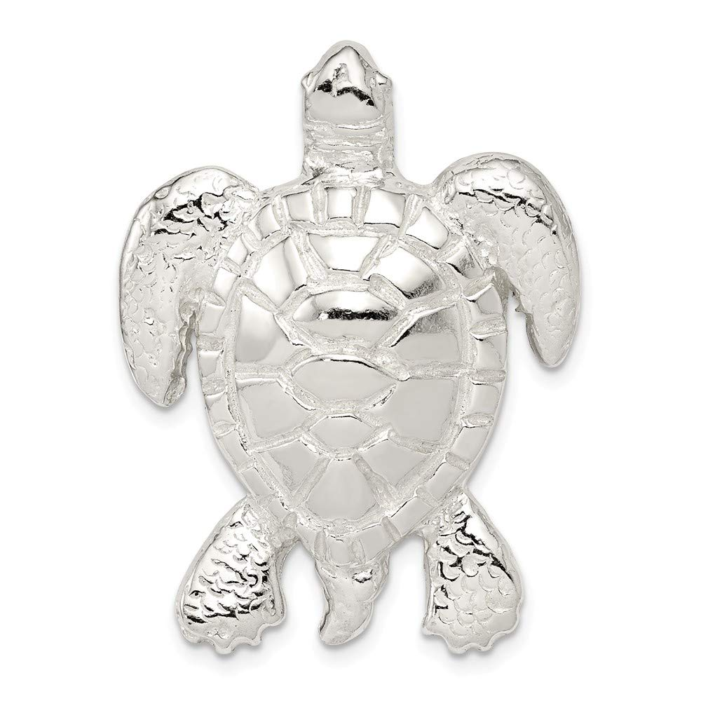 925 Sterling Silver Polished and Textured Turtle Shaped Chain Slide Pendant